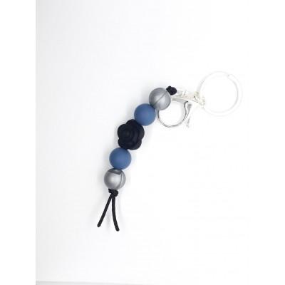 Porte-clé Fleur noire, bleu et argent